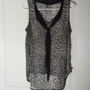 Sheer high low sleeveless blouse